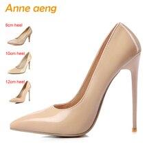 Купить с кэшбэком Women shoes 8cm 10cm 12cm High Heels Women Pumps Sexy Ladies Shoes Pointed Toe Classic Nude Wedding shoes women Plus size 34-46