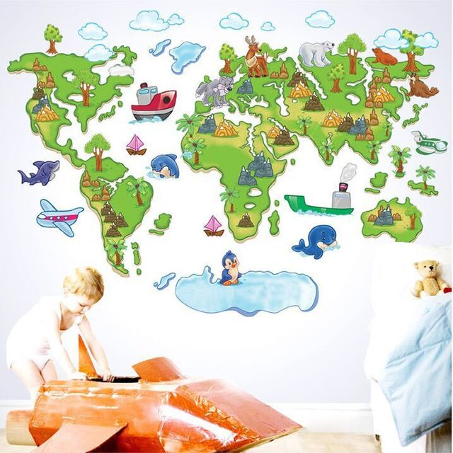 Creative cartoon europe style world map diy removable wall creative cartoon europe style world map diy removable wall stickers sitting room kids room nursery home gumiabroncs Image collections