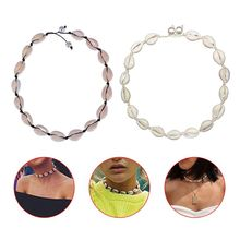 2 Pcs/set Fashion Lady Women Shell Necklace Imitation Pearl Hand Knotted Necklaces Beach Style Girls Jewelry