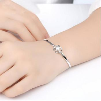 Everoyal Top Quality Silver 925 Bracelets For Women Jewelry Fashion Crystal Stone Clover Bracelet Girl Accessories Female Gift lukeni top quality silver 925 bangles for women jewelry charm crystal pink flower girl bracelet lady party accessories fashion