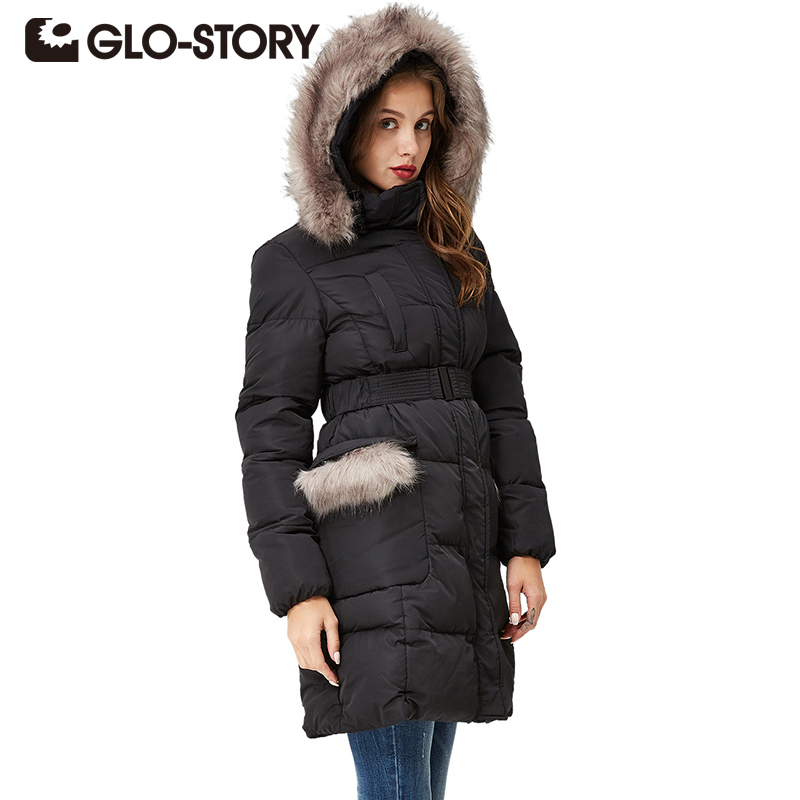 GLO-STORY Women Winter Black Down Jacket Coat Casual Women Parkas Warm Clothing Long Female Hooded Winter Parka Coats WMA-3262