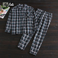New 100% cotton long-sleeve male pajamas sets men spring home Simple casual mens Sleepwear fashion plaid pyjamas pijamas for men