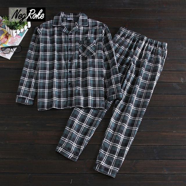 New 100% cotton long-sleeve male pajamas sets men spring home Simple casual mens Sleepwear fashion plaid pyjamas pijamas for men