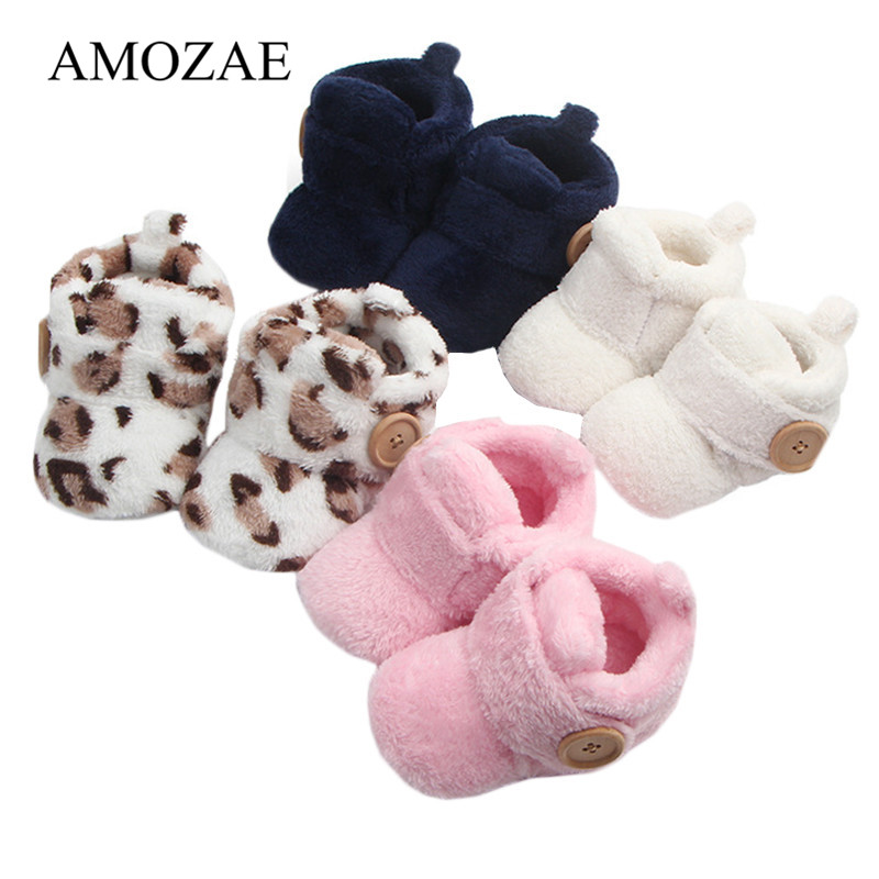 Unisex Flock Keep Warm Baby Girls Boys Shoes Button Decoration First Walkers Soft Soles Slippers Cute Non-Slip Baby Indoor Shoes