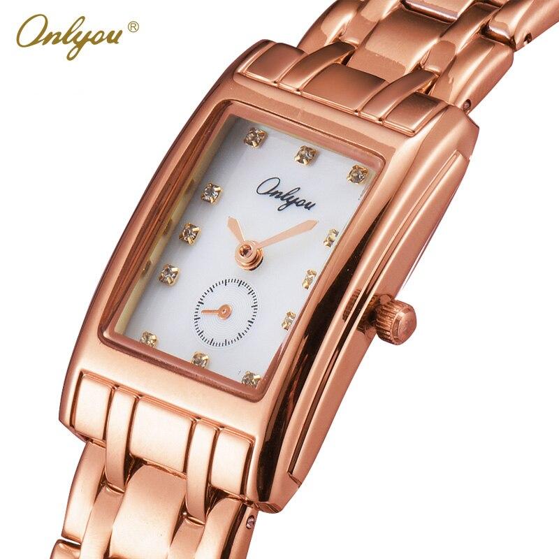 Onlyou Luxury Brand Wrist Watches for Women Rectangle Elegant Ladies Dress Watch Quartz Steel Rhinestones Bracelet