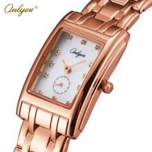 Onlyou marca de lujo de relojes de pulsera para mujeres rhinestones de acero rectángulo elegante vestido de las señoras reloj de cuarzo reloj pulsera 81088