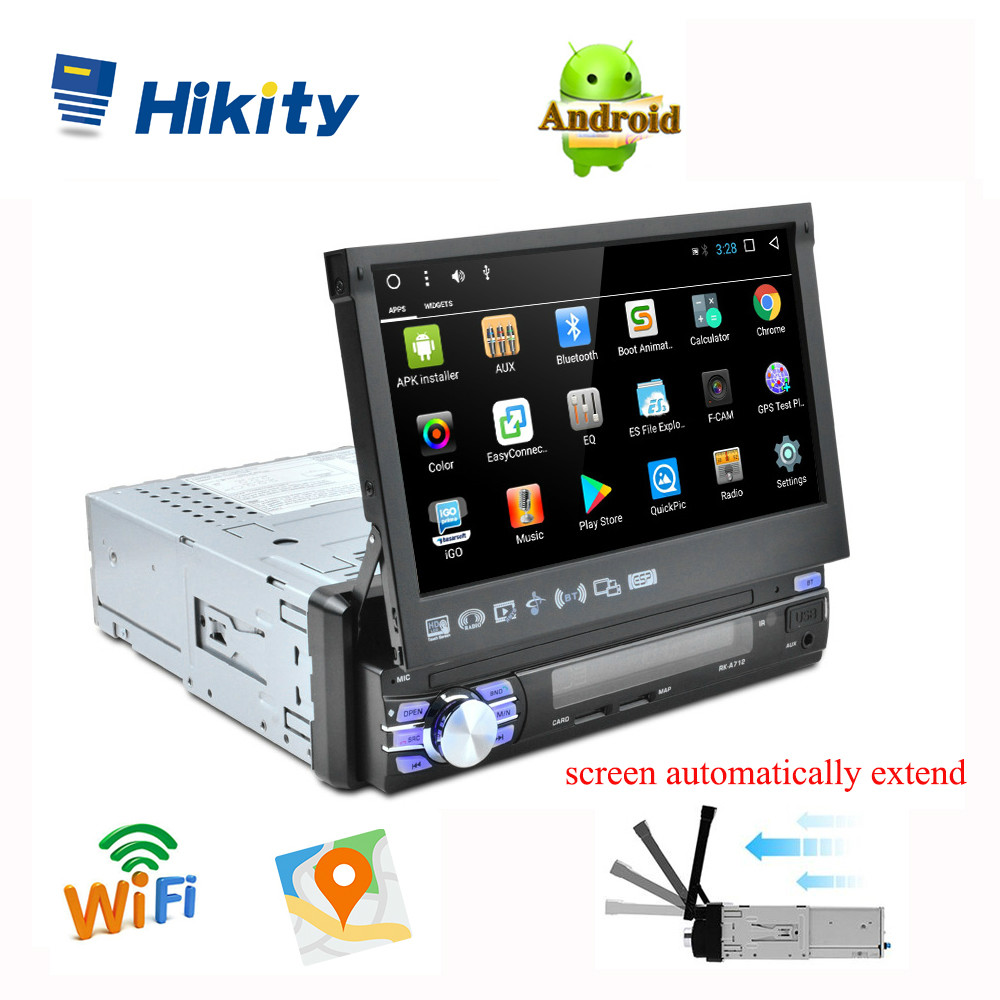 Hikity 1 din 7 Car Radio Android automatic Retractable Autoradio GPS Navigation Wifi Mirror Link Car MP5 Player Support Camera image