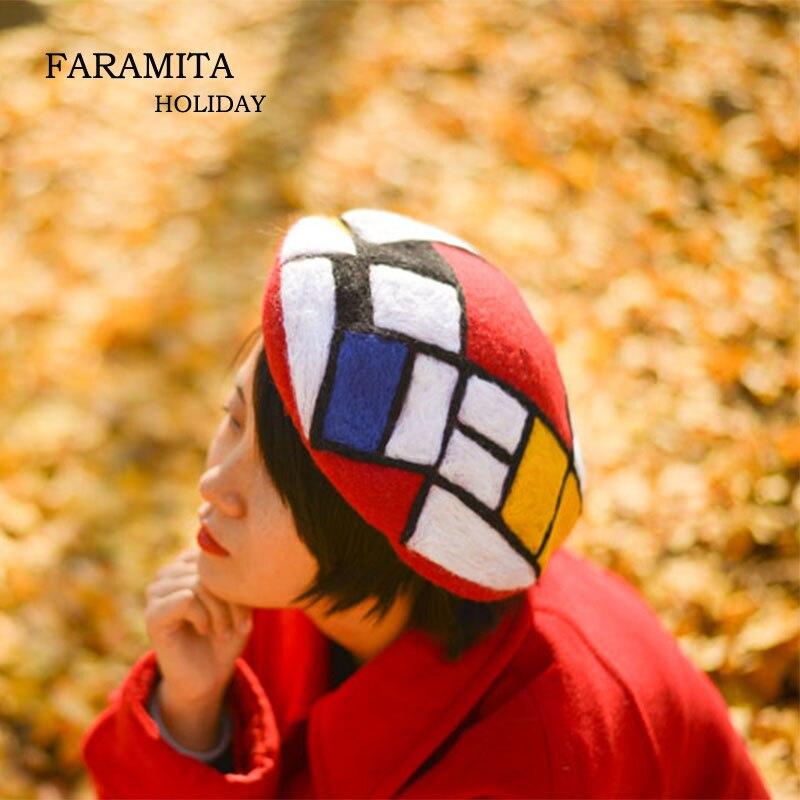 Faramita Holiday Mondrian Autumn Geometric Graphics Colorful Women Hand Made Beret Originality Rock Decoration Girls Hat Cap
