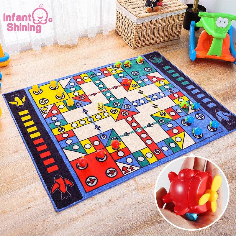 Tapis de jeu pour bébé brillant pour bébé 100X130 CM tapis de jeu d'échecs volant, y compris les dés, tapis de jeu pour enfants, tapis lavable en Machine antidérapant