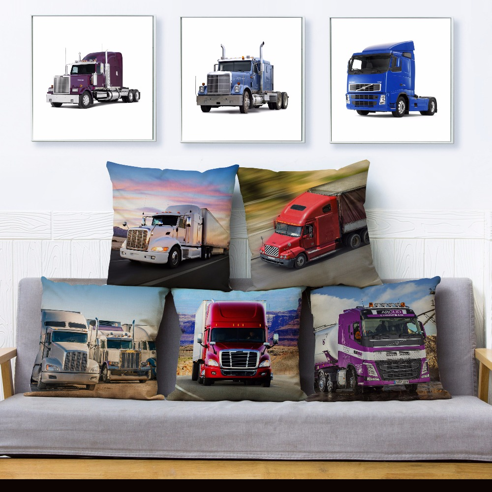 Heavy Big Truck Autotruck Print Throw Pillow Cover 45*45cm Square Cushion Covers Linen Pillow Case Sofa Home Decor Pillows Cases