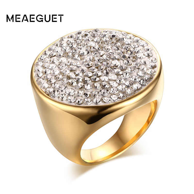 Meaeguet Gold color Luxury Paved Crystal Engagement Ring For Women Stainless Steel Big Statement Ring Jewelry Bague Femme