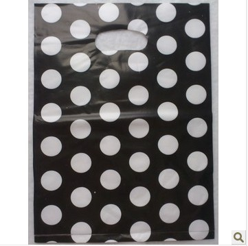 25x35cm Black And White Dot Design 0.07mm Thickness Plastic Shopping Packing Bags,Clothes Gift Bags, 100pcs/lot Free Shipping