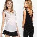 New Fashion 2017 Plus Size Summer Chiffon Long Sleeveless V Neck Boyfriend Style OL Casual T Shirt Women Tops tshirt