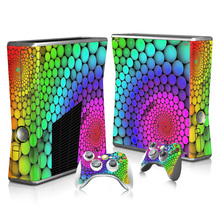 Colorful Skin Sticker Protector for Microsoft Xbox 360 Slim console and 2 Controller for video games