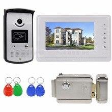 DIYSECUR 7 pulgadas Teléfono Video de La Puerta Sistema de Intercomunicación de Vídeo de Color 700TVL IR Cámara RFID Keyfobs Bloqueo y Desbloqueo Eléctrico