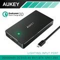 Aukey quick charge 2.0 carregador de viagem bateria qualcomm 2.0 de alta capacidade 20000 mah bateria externa portátil power bank & cable