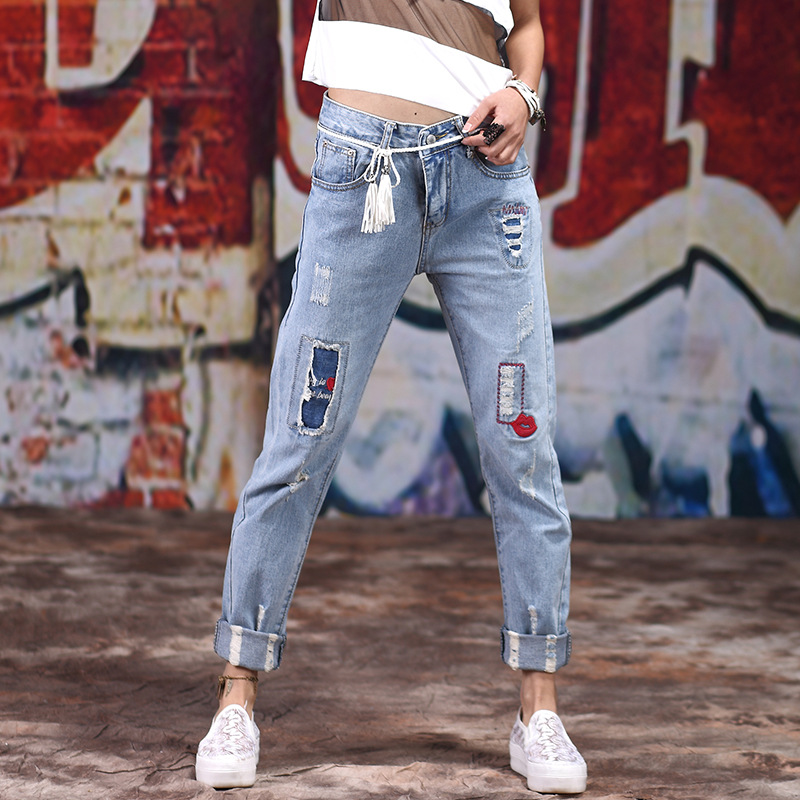 KL1048 Women clothing low waist straight pants loose ripped jeans feminino denim hemming trouser plus size