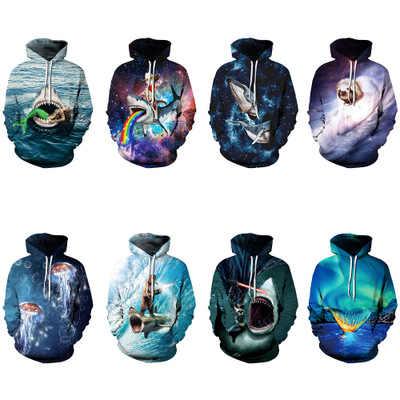 2019 толстовка с акулами «Русалочка», осенне-зимняя брендовая одежда, Мужской Повседневный пуловер, 3D худи, топы, толстовки