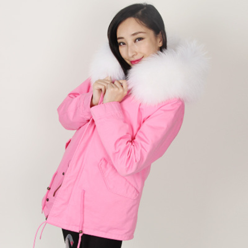 2016 New women Army Green Parka Real Fur Collar Winter Coats Ladies pink color Faux Fur Lined Hooded Plus Size Outerwear Parkas