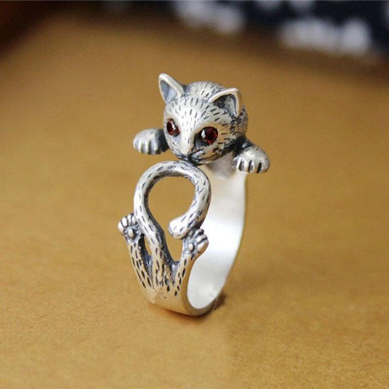 SMJEL Hippie Vintage Anel Punk Kitty Wedding Ring
