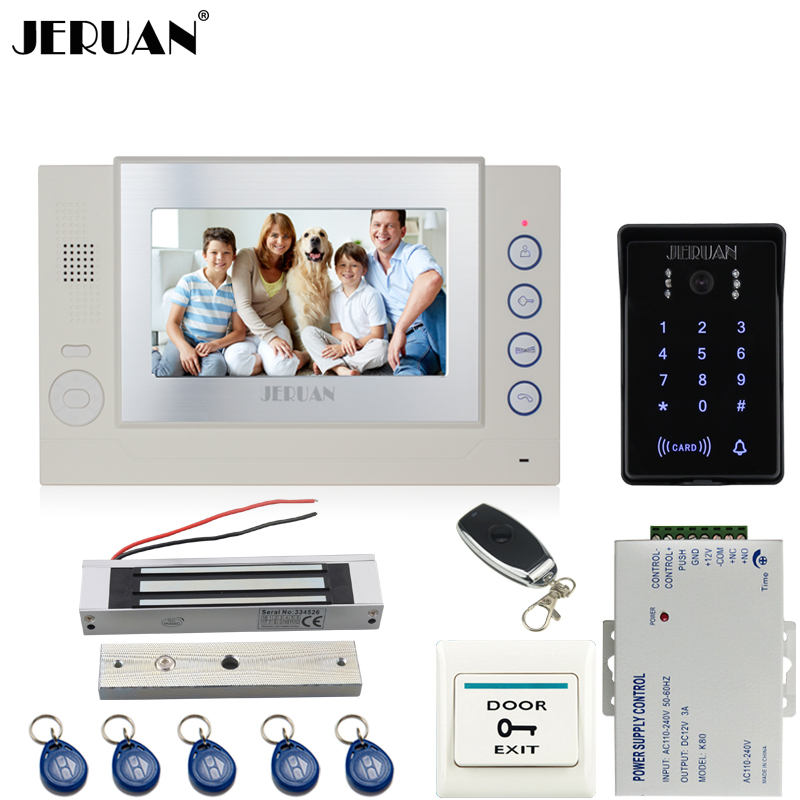 JERUAN 7 inch LCD video door phone Record intercom system Kit New RFID waterproof Touch Key password keypad Camera 8G SD Card jeruan 7 lcd video door phone record intercom system 3 monitor new rfid waterproof touch key password keypad camera 8g sd card