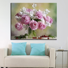 Modern Oil Framework Pink Flower DIY Digital Painting By Numbers Wall Art Picture Fashion Canvas Unique Gift For Home Decoration