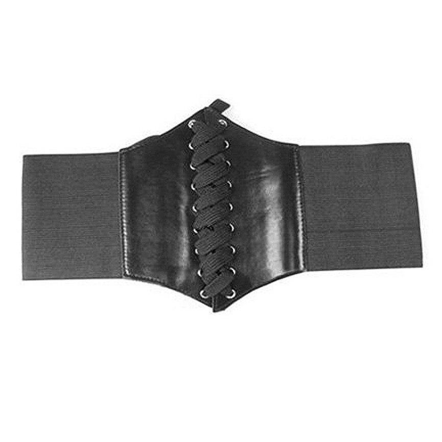 Mode Noir Large Bande Élastique Attaché Waspie Corset Taille Ceinture Vêtements Accessoire