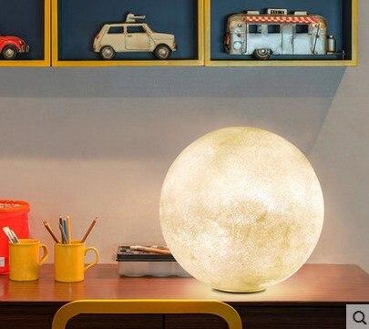 3D imprimir Luna lámpara de mesa 2 cambio de Color Interruptor táctil para dormitorio estantería Decoración Luz De noche regalo creativo