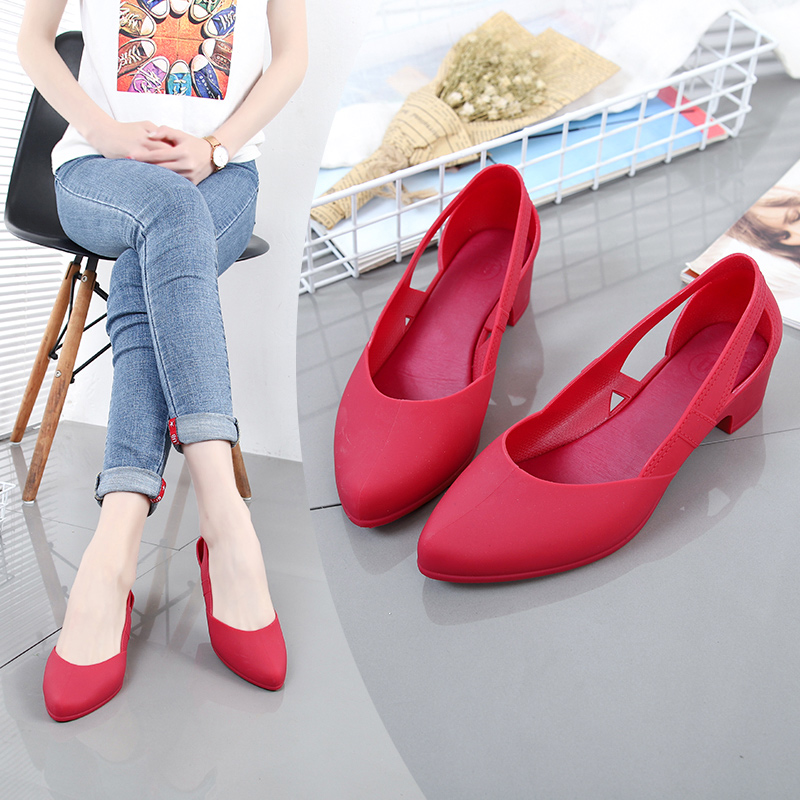 Rouroliu Women Pointed Toe Med Heel Jelly Rain Shoes Waterproof Non Slip Beach Sandals Hollow Out Casual Shoes FR117 in Middle Heels from Shoes