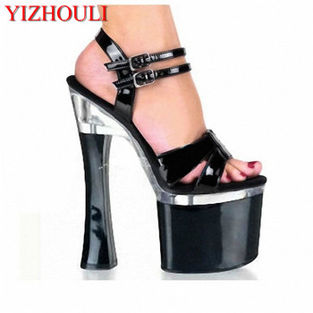 Big Size Beautiful Ankle Strap 18cm Thick High Heel Platforms Pole Dance Shoes, Dress / Wedding Shoes