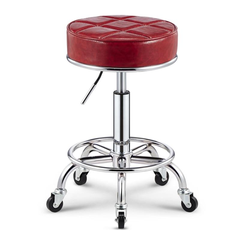 Classic Simple Design Swivel Bar Chair Lifting Bar Stool Pu Material Thickened Cushion Hair Salon/office/reception/bar Chair Salon Furniture
