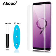 Akcoo S9 Plus screen protector met UV Vloeibare lijm voor Samsung Note 8 Note 9 S8 Plus S6 S7 rand volledige lijm glas screen film(China)