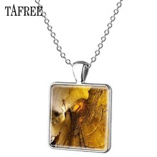 TAFREE Mammoth Cave Picture Necklace marvel Nature silver plated Square Pendant Necklaces Fashion Scenery vintage Jewelry FA535(China)