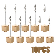 10pcs Natural Wood Stand Paper Clip Wedding Table Number Place Name Memo Photo Card Holder For Office Novelty Frame