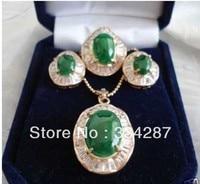 Vàng 18KGP tones màu xanh lá cây jades Inlay oval Mặt Dây Chuyền Bracelet earrings Set
