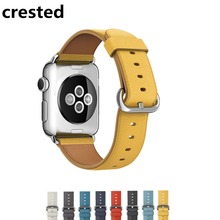 CRESTED Leather bands For Apple Watch Band 42mm 38mm classic buckle Iwatch 3/2/1 Strap wristband Bracelet Stainless Steel Clasp