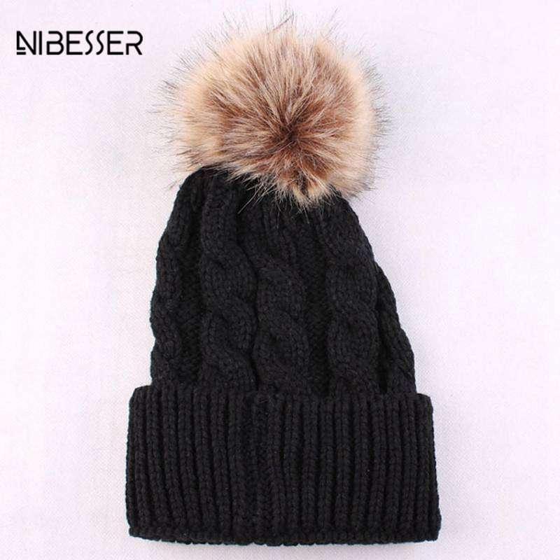 ba8f2115a NIBESSER Bonnet Femme Woman Hat Winter Hats For Women Warm Knitted Wool  Curling Cap Ladies Fashion Hat Brand New Female Beanies