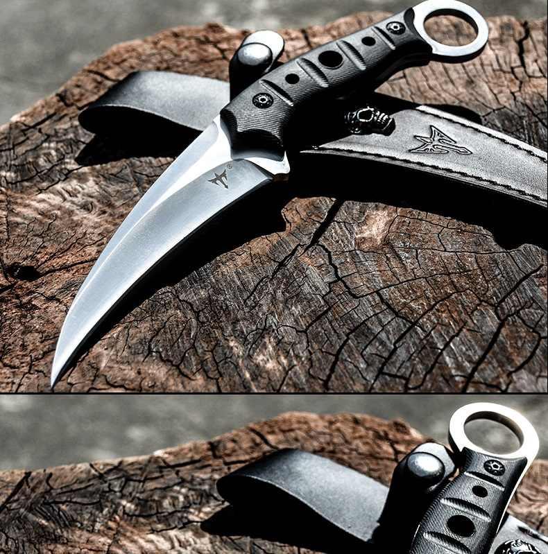 فولترون المحمولة التكتيكية في الهواء الطلق karambit ، الدفاع عن النفس العسكرية المتقاعدين سكين السكاكين ، واحد عارضة حادة سكين تخييم