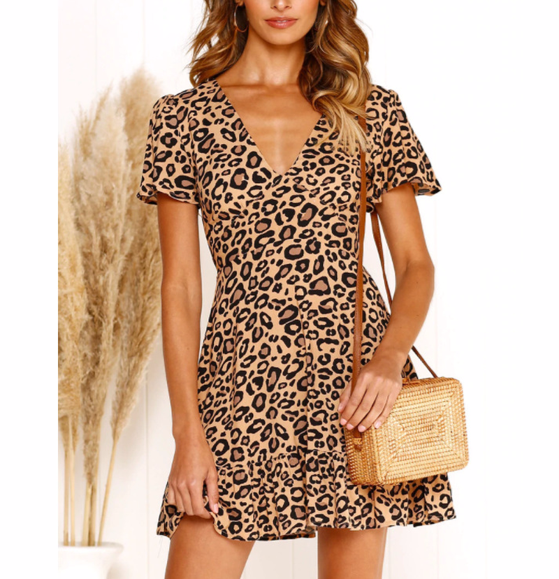 Summer dress 2019 leopard print women 39 s v neck dress sexy sweet OL women 39 s clothing in Dresses from Women 39 s Clothing