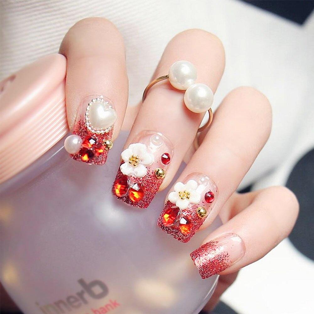 24pcs set red glitter false nails