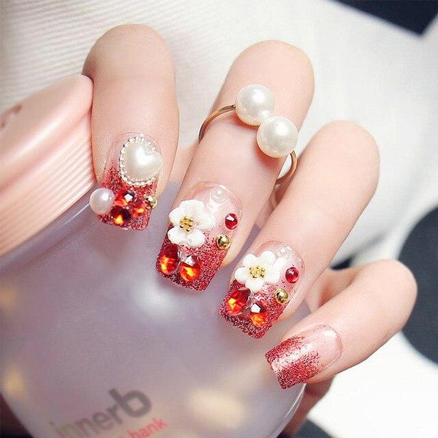 24pcs/Set Red Glitter False Nails 3D Rhinestone Flora Wedding Bride ...