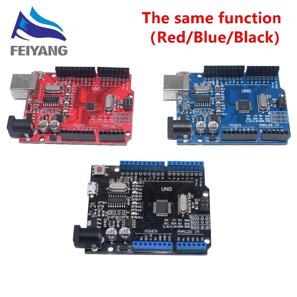 One Set  Black/blue/red UNO R3 CH340G+MEGA328P Chip 16Mhz UNO R3