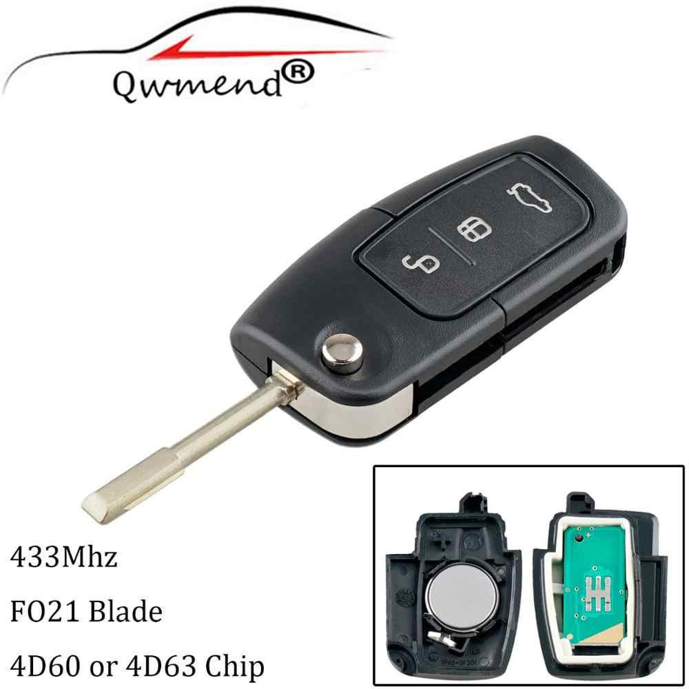 QWMEND 3 أزرار دخول السيارة بدون مفتاح لفورد مونديو فوكس فييستا سيارة مفتاح بعيد FO21 شفرة 4D60/4D63 رقاقة 433MHz