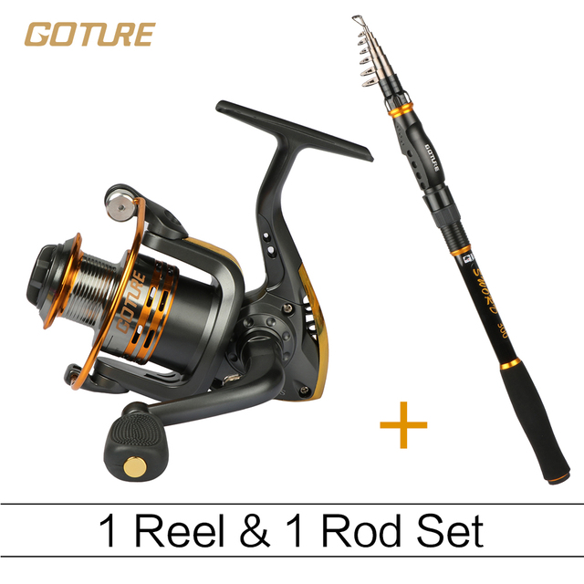 Goture Fishing Reel And Rod Set 6BB GT-3000S Spinning Reel and  2.1/2.4/2.7/3.0/3.6M Telescopic Fishing Rod Combo Fishing Tackle