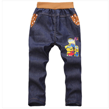 TTN 2017 trend boys denims cartoon straight pants Children garments boy leisure Summer denims for Four-7 years boy