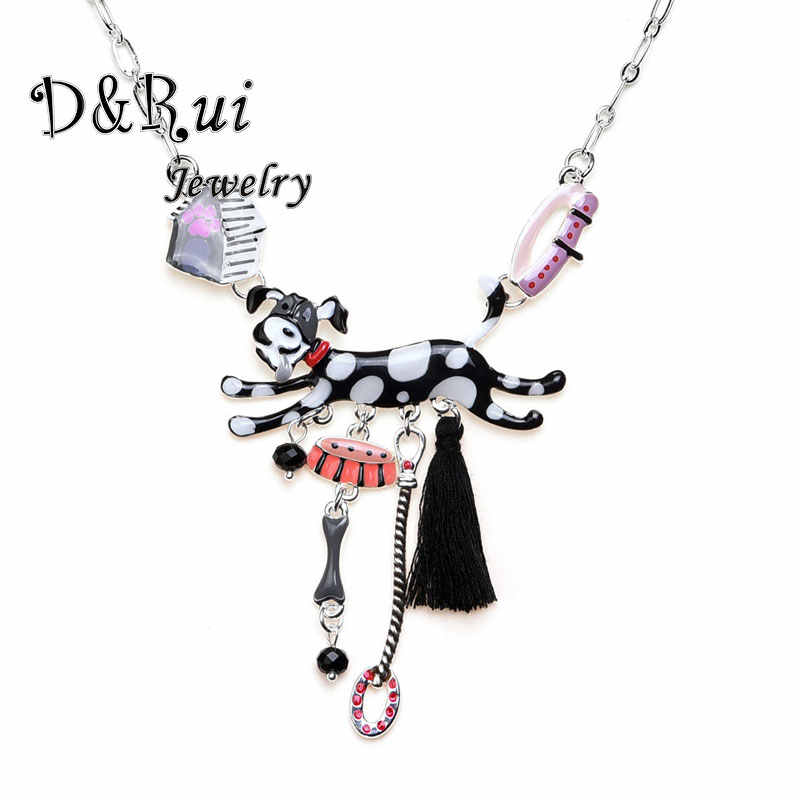 Enamel Black Dog Necklace Pendant Fashion Necklaces for Women 2019 Statement Cute Animal Bone Choker Kids Gift Jewelry Pendants