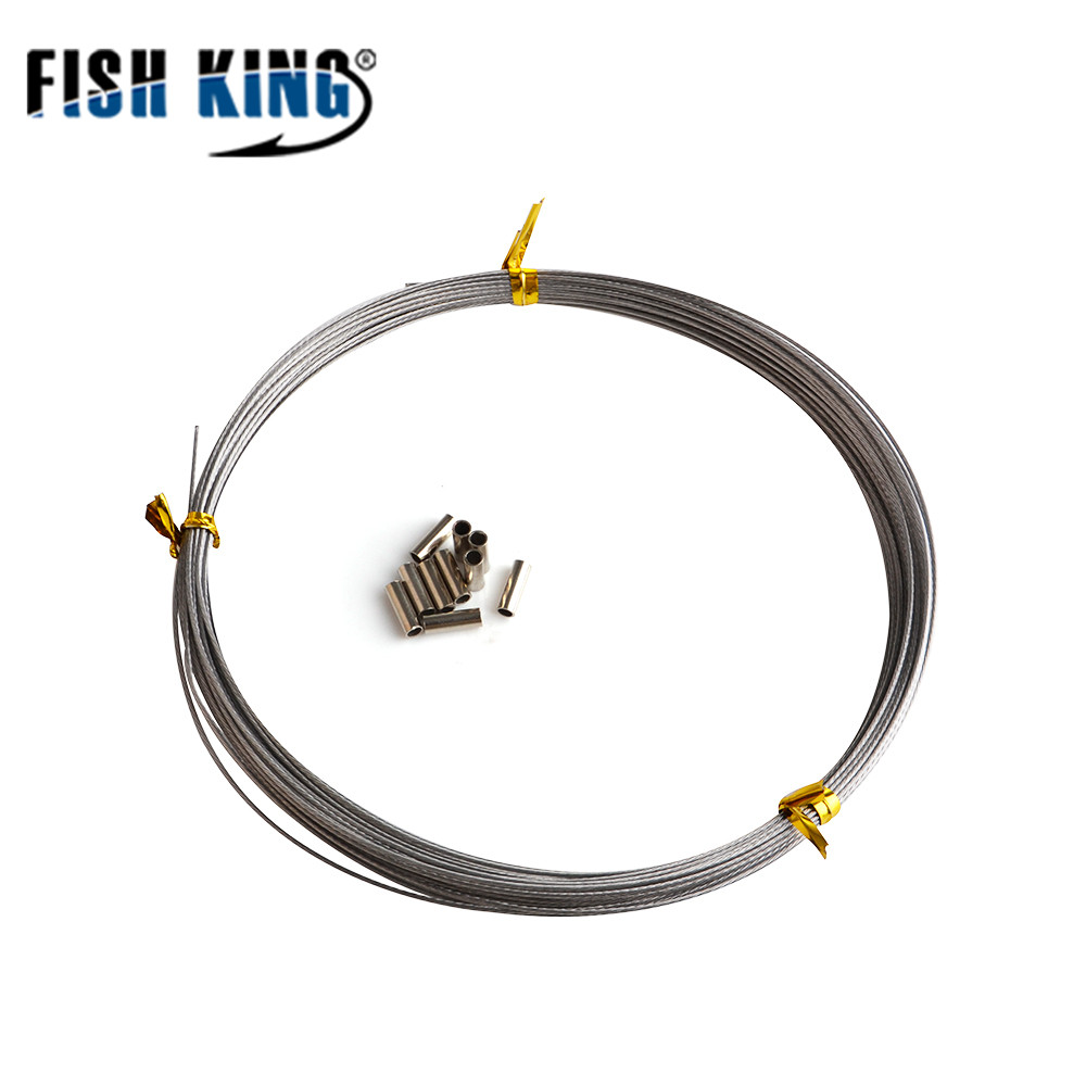FISH KING Fishing Stainless Steel Wire 10M Max Power 7 Strands  Jigging Line 60LB-120LB Fishing line Wire Trace Coating 717