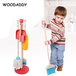 Herramienta de limpieza de simulación para bebés, juguetes de limpieza, juguetes de madera para niños, juego de recogedor de Mini escobas y arrastre