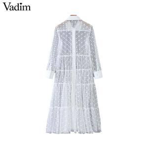 Image 3 - Vadim women stylish polka dot patchwork transparent midi shirt dress long sleeve female chic sexy mesh dresses vestidos QB670