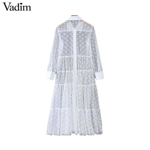 Vadim women stylish polka dot patchwork transparent midi shirt dress long sleeve female chic sexy mesh dresses vestidos QB670
